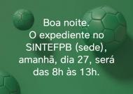 27 de junho – O SINTEF PB (sede) terá expediente até as 13h