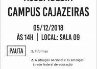 Assembléia do campus Cajazeiras dia 05/12/2018, às 14h. Confira a pauta!