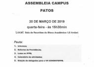 Assembleia no IFPB campus Patos – Quarta, 20 de março (15h30)