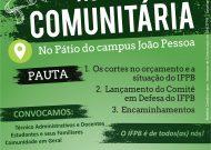 Assembleia Comunitária – 25/05 (sábado) às 10:30 – SINTEFPB – DCE IFPB – ASSEGT IFPB