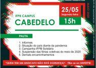 Assembleia Virtual do SINTEFPB | IFPB Campus Cabedelo: Dia 25/05, Segunda-feira, às 15h