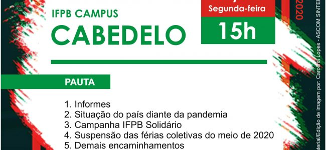 Assembleia Virtual do SINTEFPB   IFPB Campus Cabedelo: Dia 25/05, Segunda-feira, às 15h