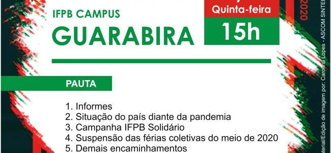 Assembleia Virtual do SINTEFPB | IFPB Campus Guarabira: Dia 28/05, Quinta-feira, às 15h