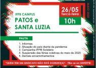 Assembleia Virtual do SINTEFPB | IFPB Campus Patos e Santa Luzia: Dia 26/05, Terça-feira, às 10h