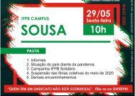 Assembleia Virtual do SINTEFPB | IFPB Campus Sousa: Dia 29/05, Sexta-feira, às 10h