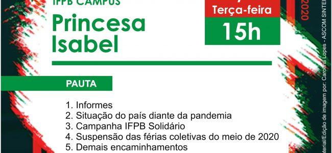 Assembleia Virtual do SINTEFPB | IFPB Campus Princesa Isabel: Dia 19/05, Terça-feira, às 15h