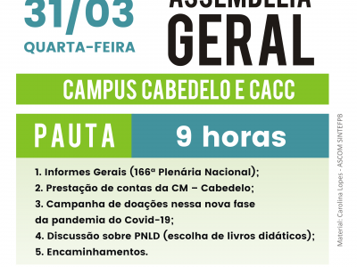 31/03 às 9h – Assembleia Cabedelo e Cabedelo Centro.